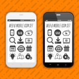 Elegant smartphones with icons, applications. Mobile phone realistic. Elegant smartphones with icons, applications. Mobile phone realistic Eps10 vector design royalty free illustration