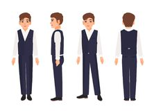Elegant smiling teenage boy or teenager with brown hair wearing shirt, trousers and vest. Male cartoon character. Isolated on white background. Front, side and Stock Images