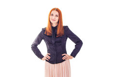 Elegant smiling woman with hands on each side Royalty Free Stock Photography