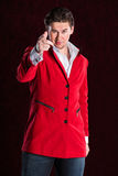 Elegant smiling young handsome man in red suit Stock Photo