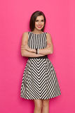 Elegant Smiling Young Woman In Striped Dress Stock Photo