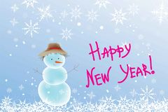 Elegant snowflakes and a snowman on a light blue background. Elegant snowflakes and a snowman in a hat on a light blue background Stock Photo