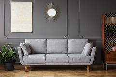 Elegant sofa between a plant a wooden cupboard in a living room interior with a painting and mirror on the wall in a living room. Elegant sofa between a plant royalty free stock photos