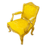 Elegant sofa of yellow chamois Stock Photos