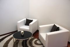 Elegant sofas. Modern elegant sofas in living room Royalty Free Stock Photo