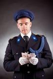Elegant soldier wearing uniform Stock Photos
