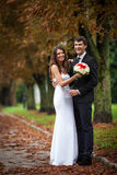 Elegant, sophisticated bride couple. Photographed in the autumn park Royalty Free Stock Photo