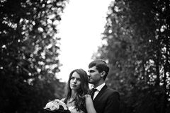Elegant, sophisticated bride couple. Photographed in the autumn park Stock Images