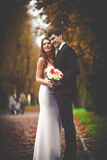 Elegant, sophisticated bride couple. Photographed in the autumn park Stock Photo
