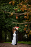 Elegant, sophisticated bride couple. Photographed in the autumn park Royalty Free Stock Photos
