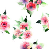 Elegant sophisticated lovely floral colorful spring summer pink and red roses with green leaves bouquets diagonal pattern. Watercolor hand illustration Stock Image