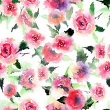 Elegant sophisticated lovely floral colorful spring summer pink and red roses with green leaves bouquets diagonal pattern watercol Stock Image