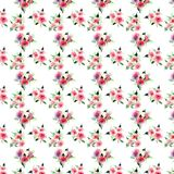 Elegant sophisticated lovely floral colorful spring summer pink and red roses with green leaves bouquets diagonal pattern watercol Stock Photography