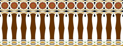 Elegant, spectacular and decorative border of Hindu and Arabic inspiration of various colors, brown, golden, black, dark pink. And green a Royalty Free Illustration
