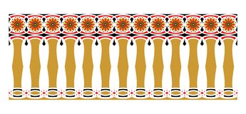 Elegant, spectacular and decorative border of Hindu and Arabic inspiration of various colors, golden, red and black. A Vector Illustration