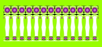 Elegant, spectacular and decorative border of Hindu and Arabic inspiration of various colors, white, black and purple. With light green background a Royalty Free Illustration