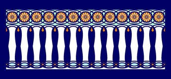 Elegant, spectacular and decorative border of Hindu and Arabic inspiration of various colors, white, light blue and orange. With dark blue background a Vector Illustration