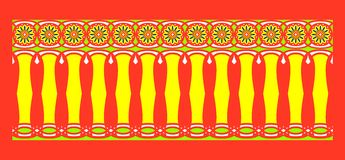 Elegant, spectacular and decorative border of Hindu and Arabic inspiration of various colors, yellow, white, light blue and black. With strong orange background Royalty Free Illustration