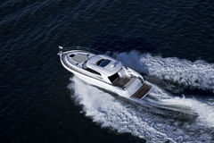 Elegant speed boat sailing in the sea Royalty Free Stock Images