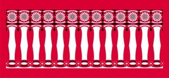 Elegant, spektakulär och dekorativ gräns av hinduisk och arabisk inspiration av olik färger, vit och svart med röd bakgrund Fotografering för Bildbyråer
