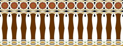 Elegant, spektakulär och dekorativ gräns av hinduisk och arabisk inspiration av olika färger, brunt, guld-, svart mörk rosa färg Arkivfoton