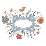 Elegant spring card with a frame, flowers and butterflies. Vector illustration Royalty Free Stock Images
