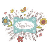 Elegant spring card with a frame, flowers and butterflies. Vector illustration Royalty Free Stock Photo