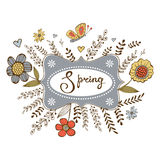 Elegant spring card with a word Spring in a frame, flowers and butterflies. Vector illustration Stock Photography
