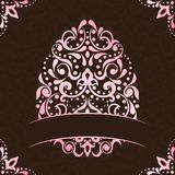 Elegant square easter frame in pink and brown Royalty Free Stock Photography