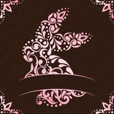 Elegant square easter frame in pink and brown Royalty Free Stock Photo