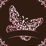 Elegant square easter frame in pink and brown Stock Images