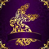 Elegant square easter frame in purple and gold Stock Photo