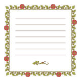 Elegant square vintage frame with roses and leaves elements. Vector decorative border Stock Photo