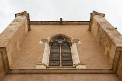 Elegant stained glass window in the building  attached  to San I. Elegant wall and stained glass window from the building attached  to the romanesque San Isidoro Royalty Free Stock Image