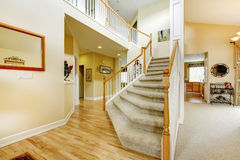 Elegant staircase with white railings in modern house Royalty Free Stock Photos