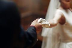 Elegant stilfull brudgum som försiktigt rymmer handen av ursnygga brudclos fotografering för bildbyråer