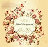 Elegant stilfull design med blom- tappning stock illustrationer