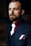 Elegant stilfull stilig brudgumstående skäggigt mananseende på royaltyfria foton
