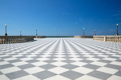 Elegant stor terrass med det rutiga golvet Royaltyfri Bild