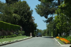 Elegant street in Bel-Air, California Royalty Free Stock Photography