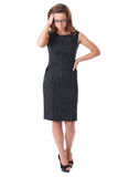 Elegant stressed businesswoman isolated on white Stock Photo