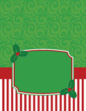 Elegant Striped Christmas Notecard with copy space Royalty Free Stock Photo