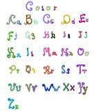 Elegant style font set Vector 18 color Stock Images