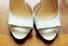 Elegant and stylish bridal shoes. Royalty Free Stock Photo