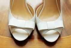Elegant and stylish bridal shoes. Royalty Free Stock Photo