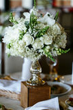 Elegant stylish decorated wedding reception tables with glasses Royalty Free Stock Images