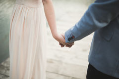 Elegant stylish groom with his happy gorgeous brunette bride on the background of a lake stock images