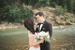 Elegant stylish happy brunette bride and gorgeous groom on the background of a beautiful waterfall in the mountains Royalty Free Stock Photos