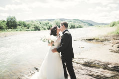 Elegant stylish happy brunette bride and gorgeous groom on the background of a beautiful waterfall in the mountains Royalty Free Stock Image
