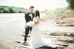 Elegant stylish happy brunette bride and gorgeous groom on the background of a beautiful waterfall in the mountains Stock Photo